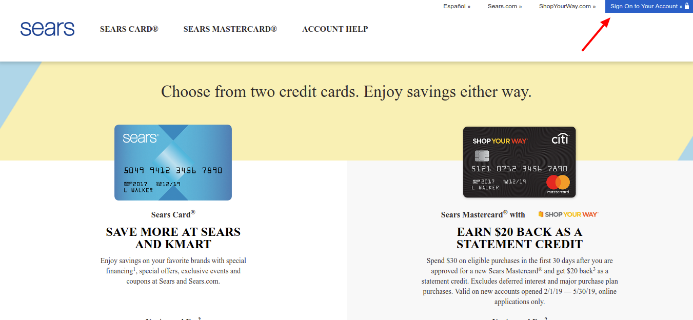 Apply for a Sears Credit Card or a Sears Mastercard