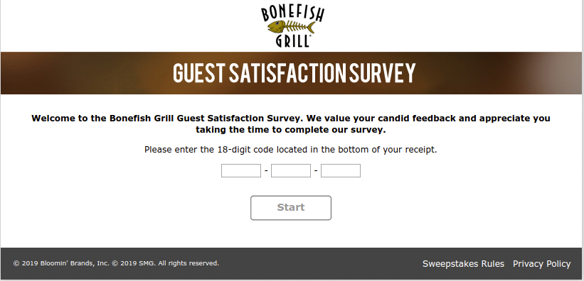 Bonefish Grill Guest Satisfaction Survey Welcome