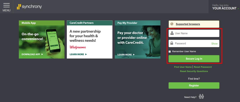 CareCredit Healthcare Login