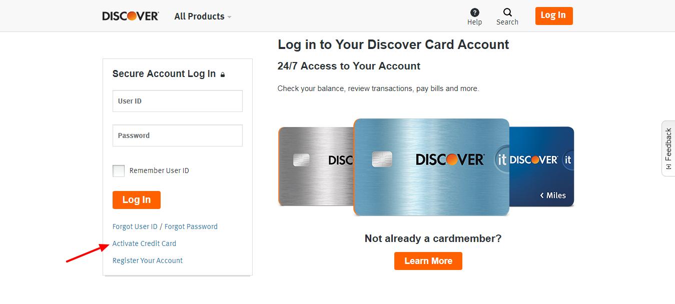 Credit Card Login Discover Card