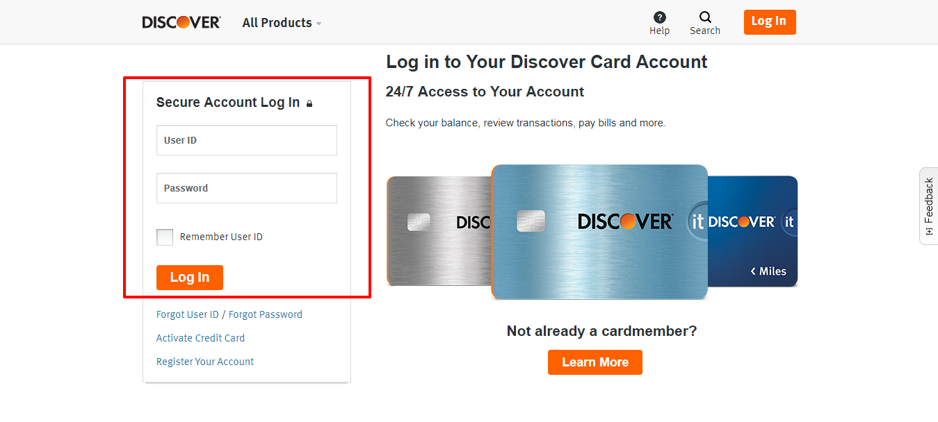 Credit Card Login