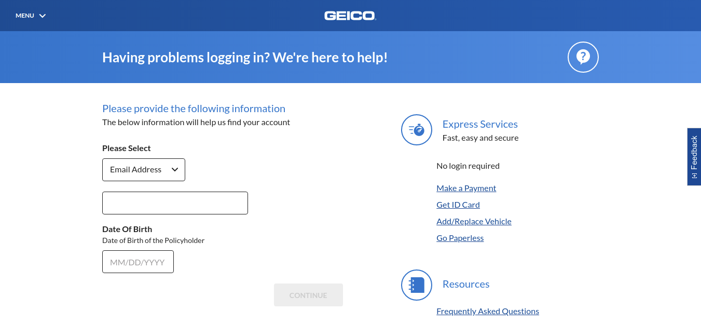 GEICO Forgot Password