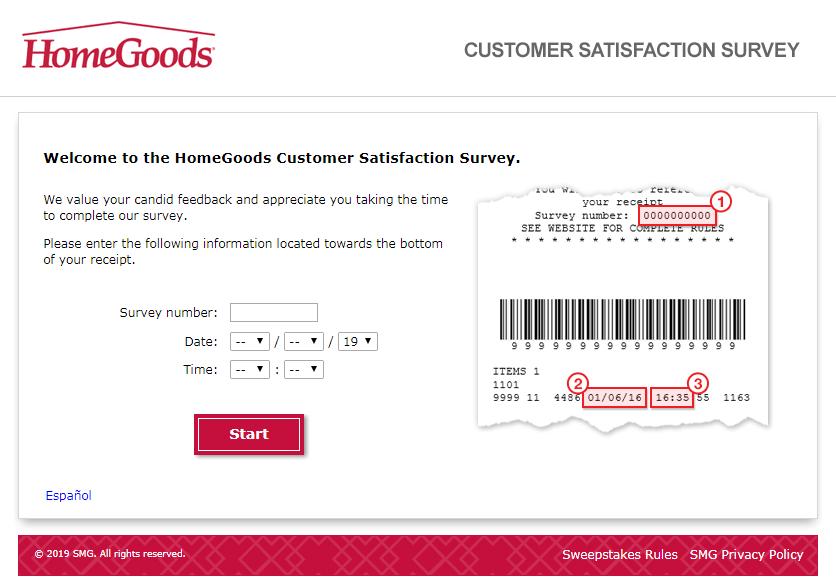 HomeGoods Customer Satisfaction Survey Welcome