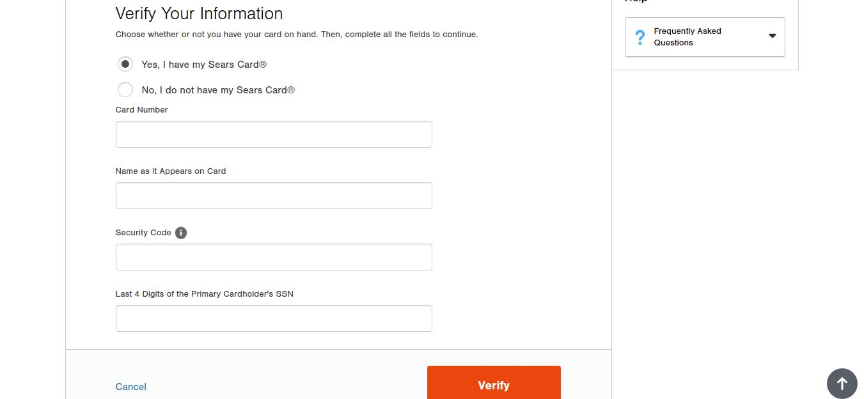 Sears Credit Card Forgot Password