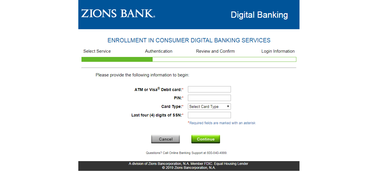 Zions Bank Digital Banking Enrollment