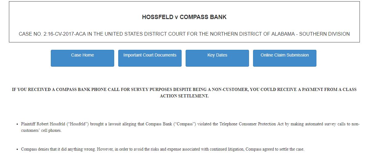 Case Home HOSSFELD v COMPASS BANK