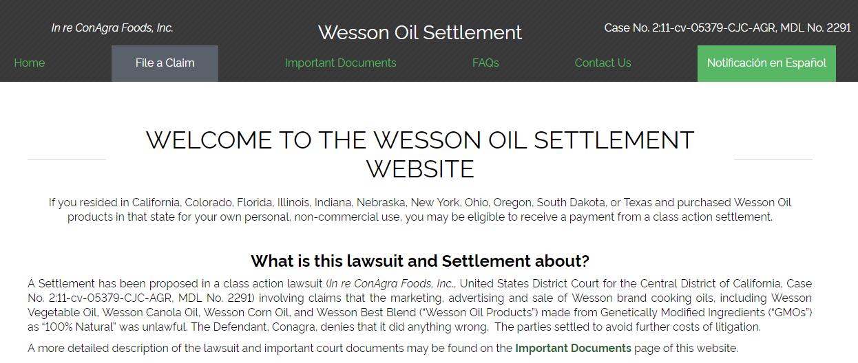 Cash Benefit Wesson Oil Settlement