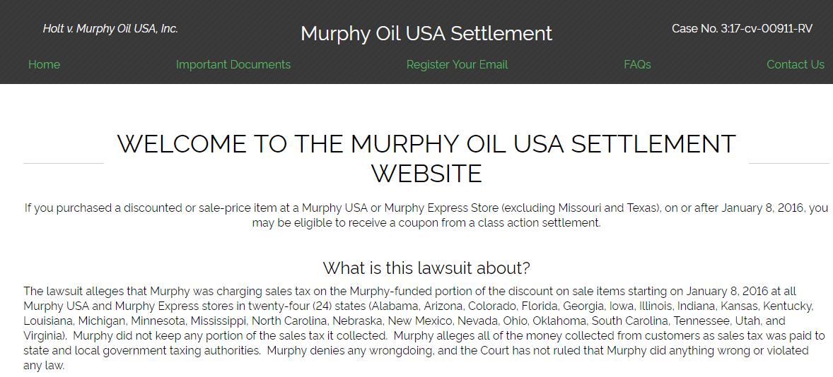 Home Murphy Oil USA Settlement