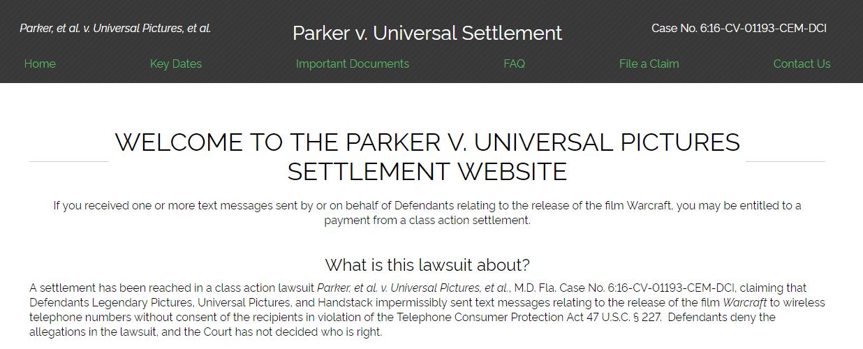 Home Parker et al v Universal Pictures