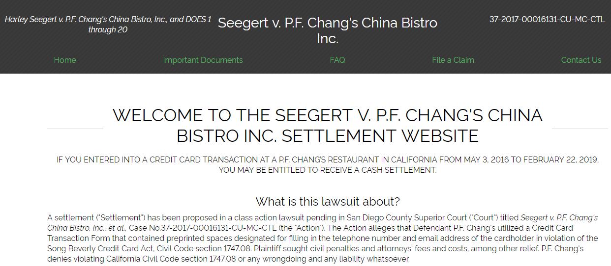 Seegert v P F Chang s China Bistro