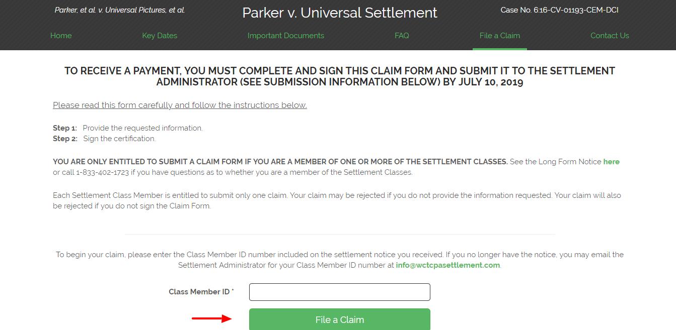 Submit A Claim Parker et al v Universal Pictures et al