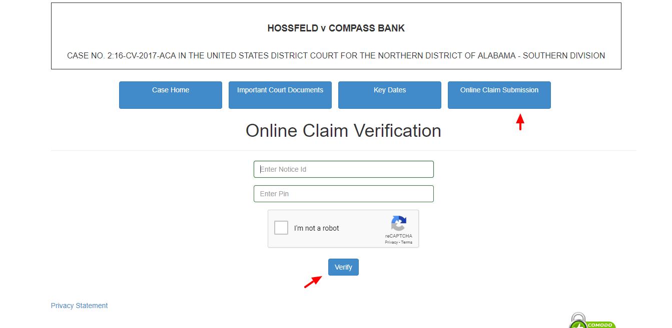 Submit Online Claim HOSSFELD v COMPASS BANK