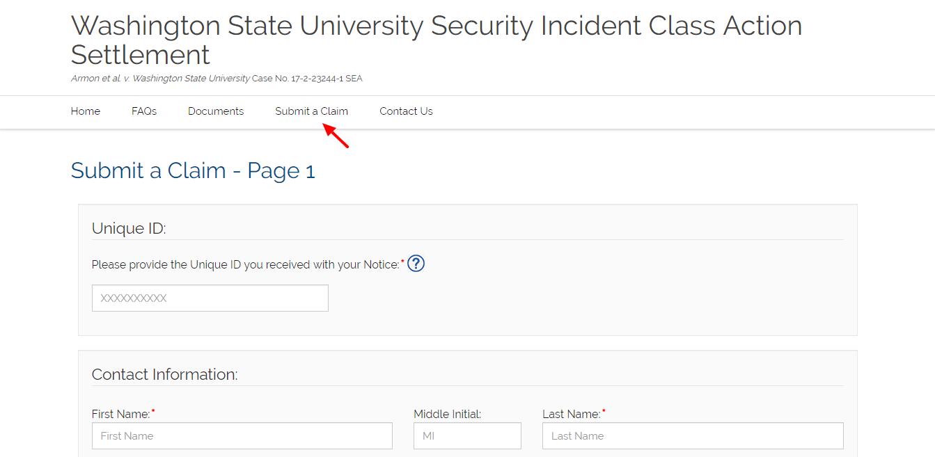 WSU Security Incident Settlement Claim Form