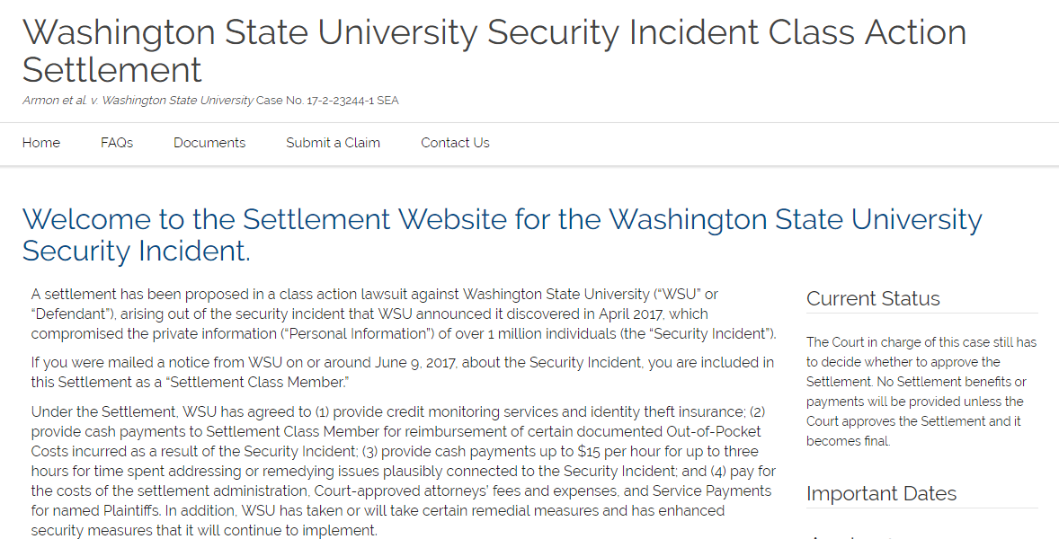 WSU Security Incident Settlement Home