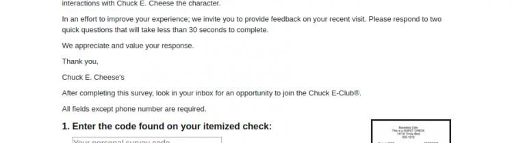 Chuck E Cheese Survey