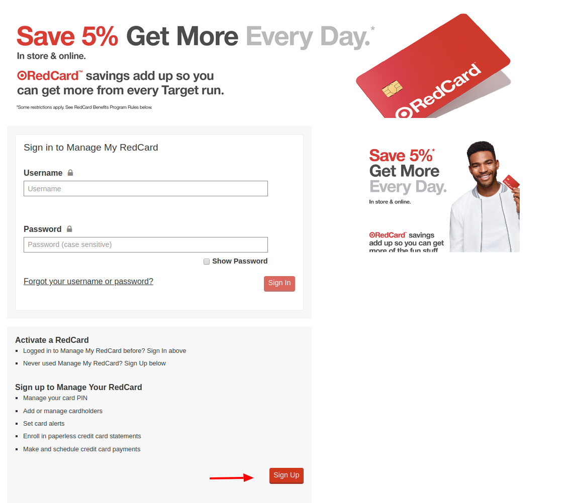 Target REDcard Sign Up