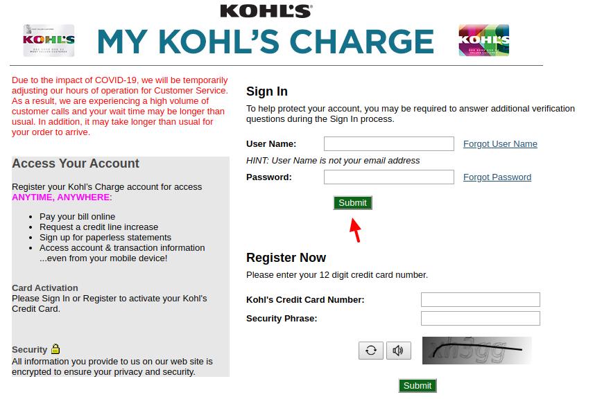 Kohl's Sign In