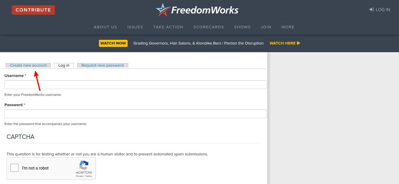 FreedomWorks Create Account