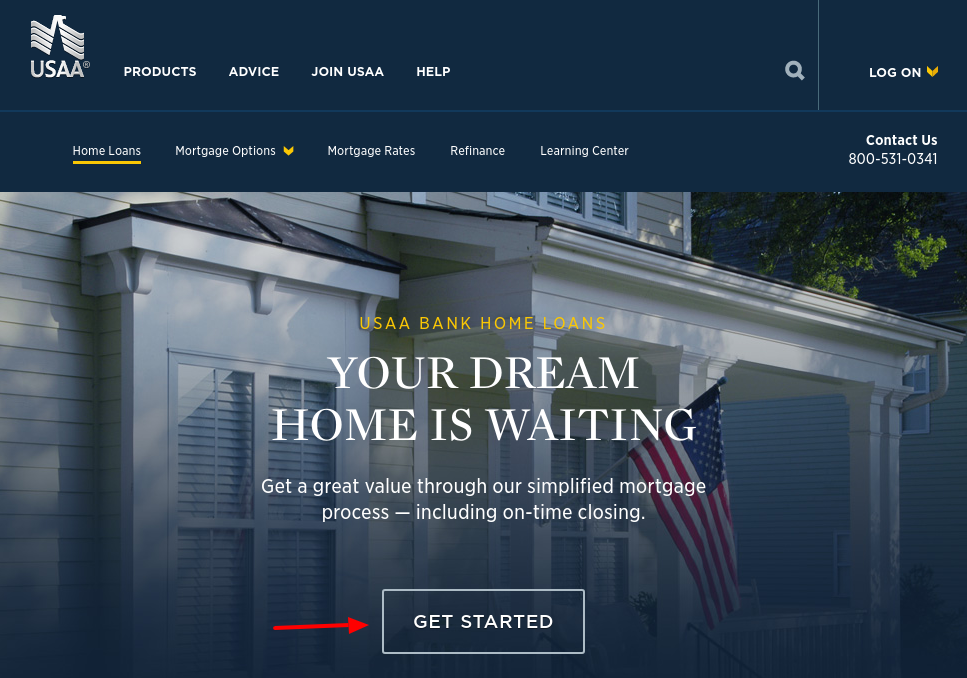 USAA mortgage Get Started