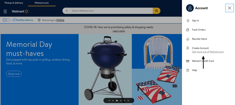 Walmart Create Account