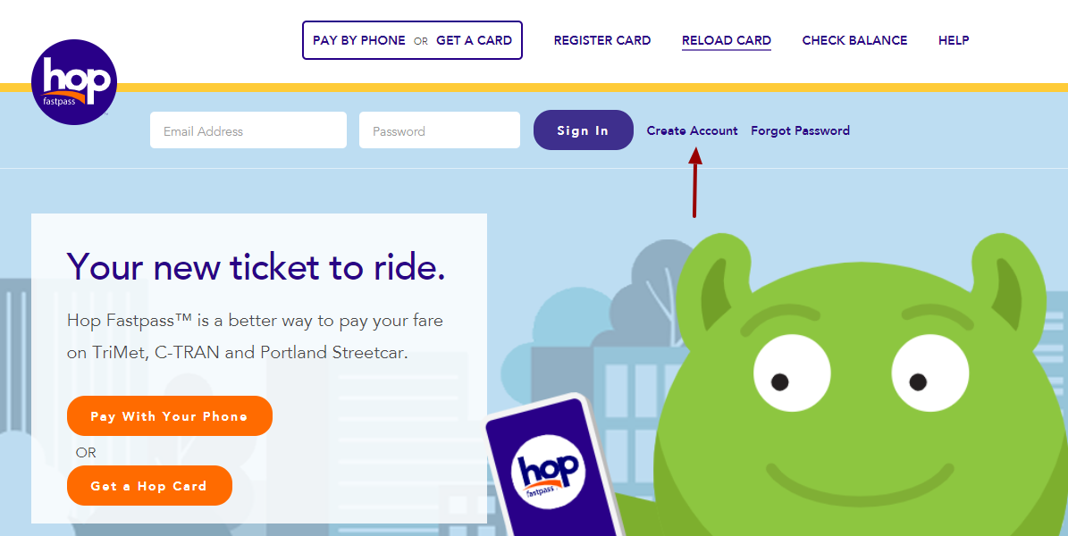 Hop Card Create Account