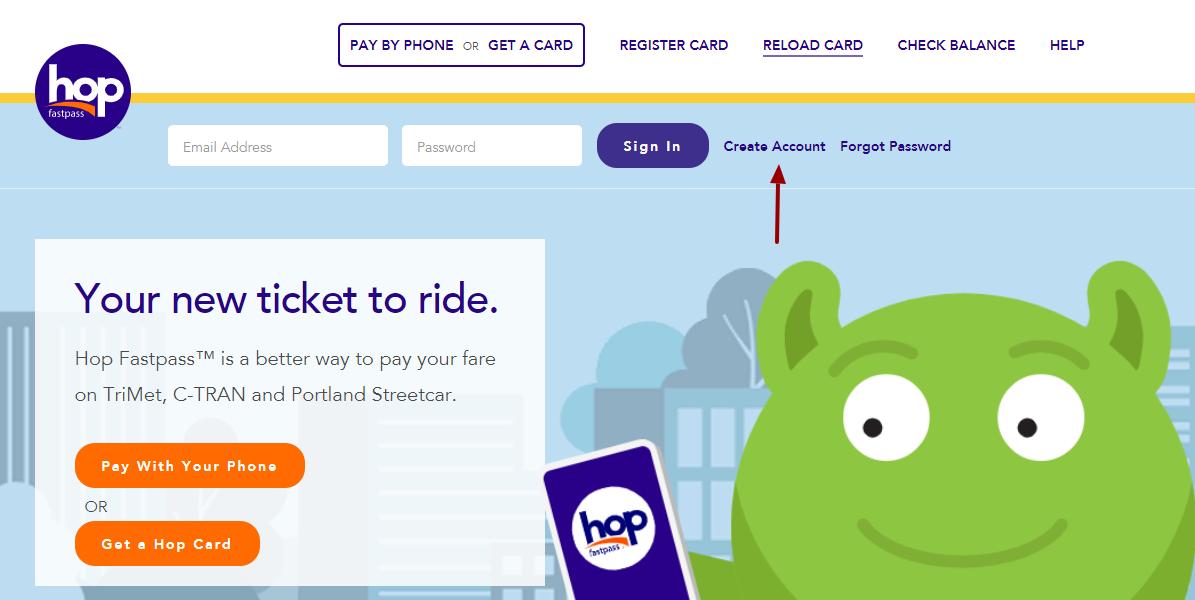 Hop Card Create Account